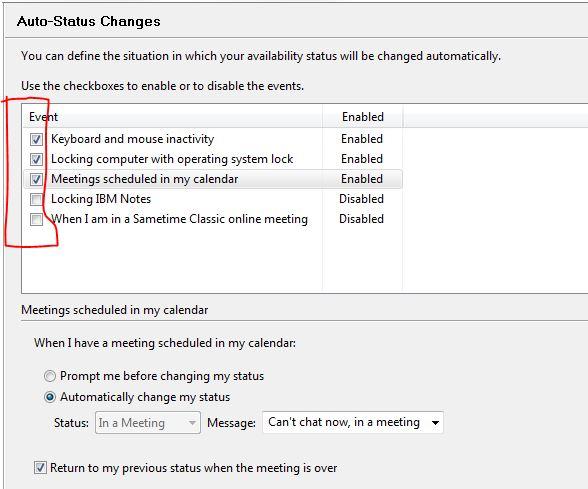 Setting Auto Status Change Preferences In Sametime Via